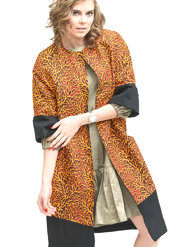 Orange Ankara hubcouture print 1 trench coat